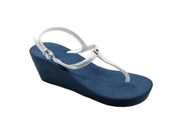 Slingback wedges Navy Silver